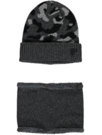 muts en sjaal grijs met vlekken B907-4900-110
