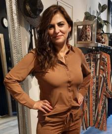 MI PIACE travelstof blouse hazelnut