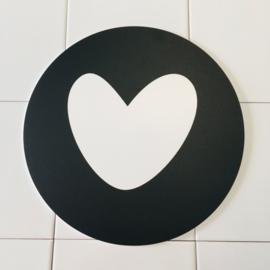 Hart (wit hart) (licht beschadigd) - Muurcirkel Ø 25 cm
