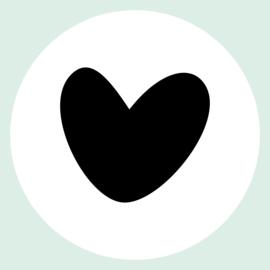Hart (zwart) muurcirkel Ø25cm