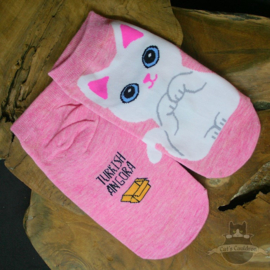 Pink sneaker socks Turkish Angora cat size 35-40