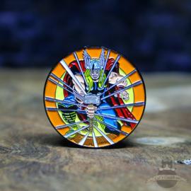 Thor Mjolnir pin Marvel Comics retro cirkel