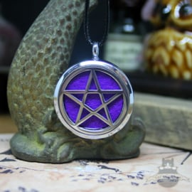 Pentagram necklace for aroma therapy purple