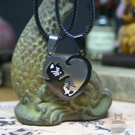 Double heart shaped Valentine cat necklace BFF