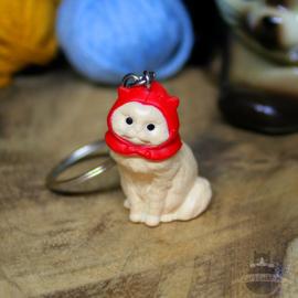 Schlüsselanhänger weiße Katze mit roten Mütze
