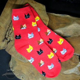 Red socks with cat heads size 36-41