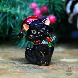 Christmas Brooch black Kitten with Santa hat and bowe