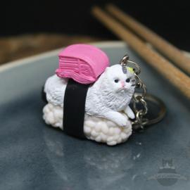 Sushi-Schlüsselanhänger Weiße Katze mit rosa Rucksack