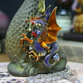 Purple dragon necklace with gold colored wings