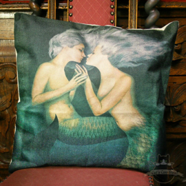 Two beautiful silver haired mermaids pillowcase