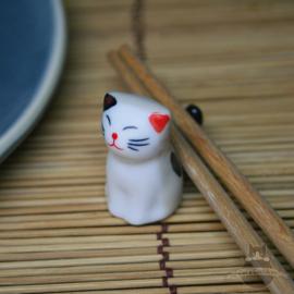 Eetstokjes steun zittende kat crèmekleur