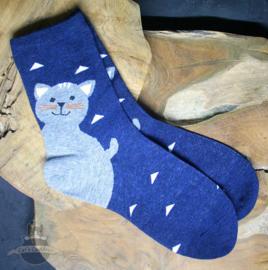Blauwe sokken met grote blije kat maat 36-41