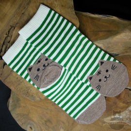 Green striped socks with brown cat size 35-39