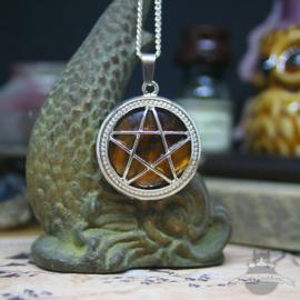 Pentagram natuursteen ketting Tijgeroog