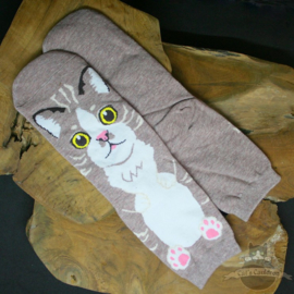 Light brown socks with big cat in cartoon style size 36-42