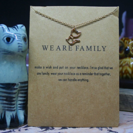 WE ARE FAMILY necklace with gold colored cat on card
