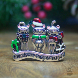 Kerst broche katten Friends Are The Greatest Gift zilver
