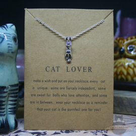 CAT LOVER necklace with silver colored cat on card