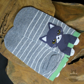 Grey sneaker socks with grey cat size 35-40