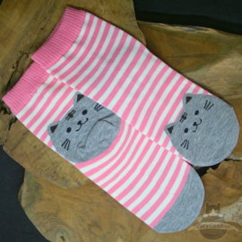 Pink striped socks with grey cat size 35-39