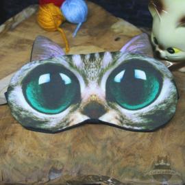 Slaapmasker kat grote groene ogen
