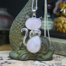 Cat with Rose Quartz stone necklace