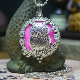 Owl diffuser necklace with silver colored flowers