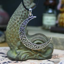 Half moon necklace silver look on waxcord
