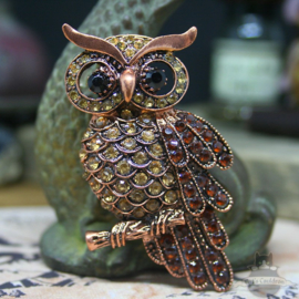 Brown owl brooch decorated with stones
