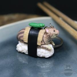 Sushi-Schlüsselanhänger getigerte Katze mit Gurke
