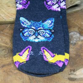 Trendy kattensokken gekleurde koppen met brillen maat 36-41