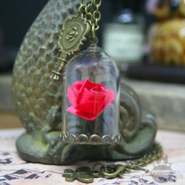Red rose in glass dome Beauty and the Beast necklace