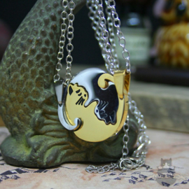Double Yin Yang friendship necklace gold colored BFF