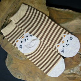 Brown striped socks with beige cat size 35-39