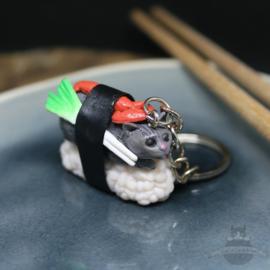 Sushi-Schlüsselanhänger graue Katze mit Hummer und Lauch