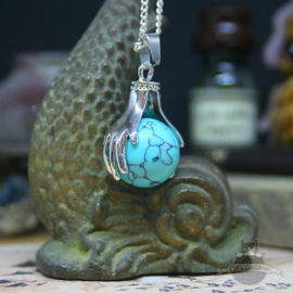 Spirituele ketting twee handen met bol Turquoise