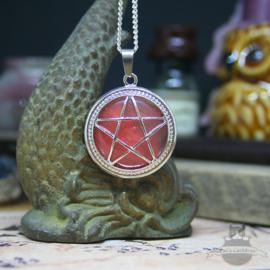 Pentagram natuursteen ketting Rozenkwarts