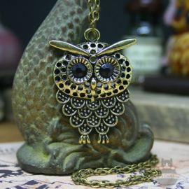 Owl necklace with dark eyes bronze colored