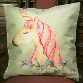 Unicorn with pink manes against a green background pillowcase