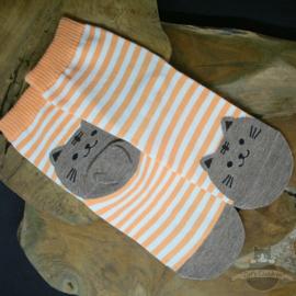 Orange striped socks with grey cat size 35-39