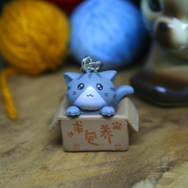 Schlüsselanhänger Adoption graue Katze in Box