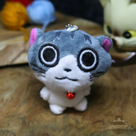 Keyring of plush happy cat with small bell