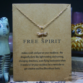 Dragonfly necklace on FREE SPIRT spiritual card