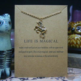 Unicorn LIFE IS MAGICAL necklace gold colored