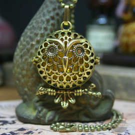 Owl diffuser necklace on branch gold colored