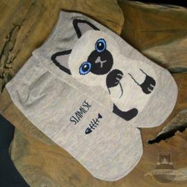 Beige sneaker socks Siamese cat size 35-40