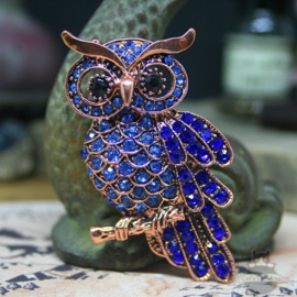 Blue owl brooch decorated with stones