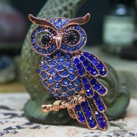 Blauwe uil pin broche koper kleur met strass steentjes