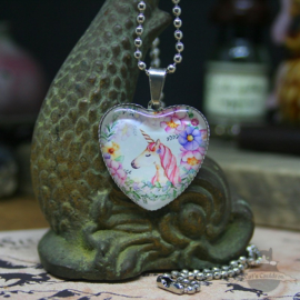 Valentine unicorn heart necklace with light flowers