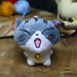 Keyring of plush cat with open mouth